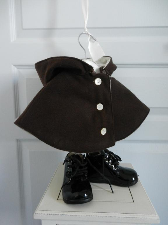 Chocolate brown hooded mini cape - 18 months old