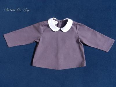 Burgundy cotton shirt with white round collar - 12 months