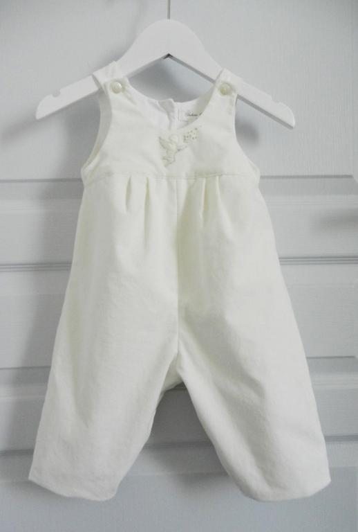 Off white velvet cotton overalls - 6 months