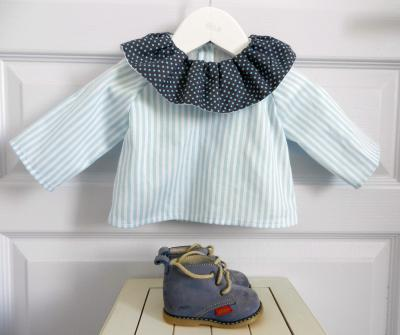 White and blue stripes shirt with charcoal grey frilled collar - 3 months old