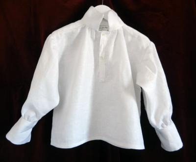 Chemise à manches froncée et manchettes en lin blanc - 4 ans
