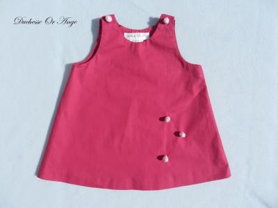 Fuschia pink cotton baby dress, buttons pink rose shape - 12 months