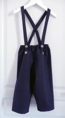 Purple and black woolen trousers with suspenders - 4 years old