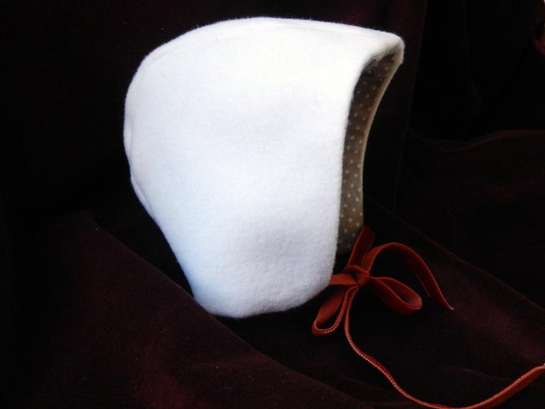 Béguin crème doublé en coton à pois - naissance à 3 mois