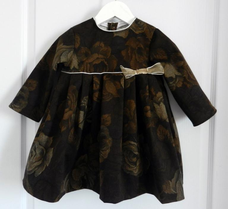 Thick cotton dress brown roses - 2 years old