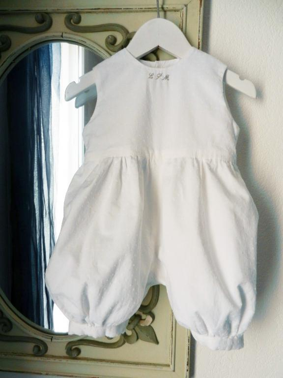White plumetis cotton baby rompers, hand made embroidery at the collar - 18 months old