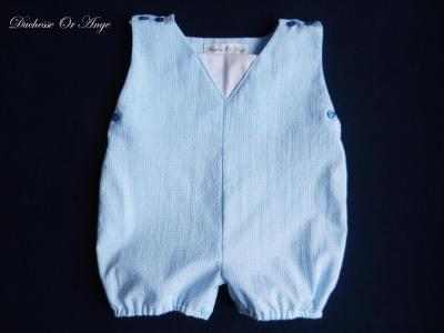 Blue and white checkered cotton romper suit - 6 months