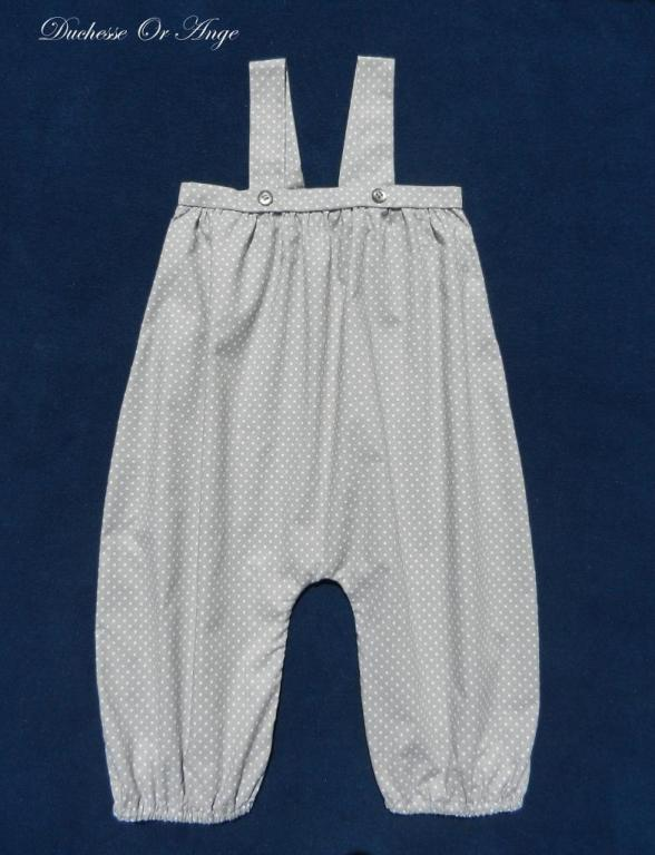 Light brown and white polka dots cotton overalls - 3 years old