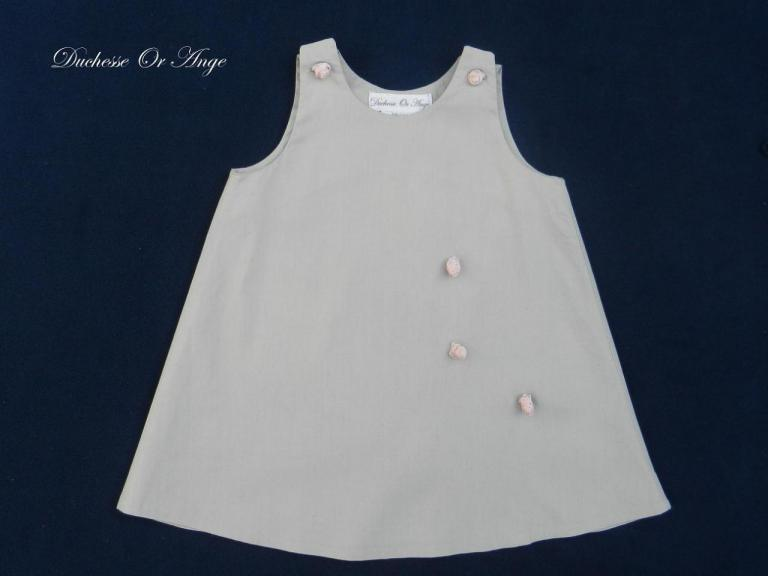 Gray cotton baby dress, buttons pink rose shape 12 months