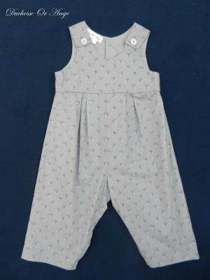 Dove gray  and pink cotton baby overalls - 18 months