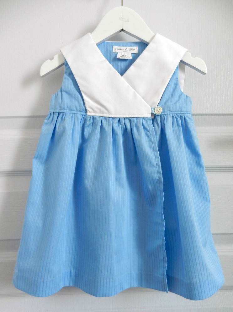 Doa 88 e robe bebe croisee bleu col marin sailor collar blue baby wrapover dress