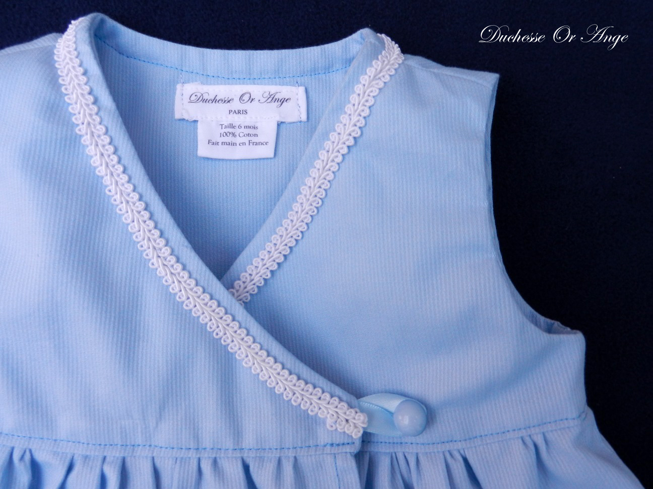 Doa 89 b robe bebe croisee bleu ciel sky blue baby wrapover dress