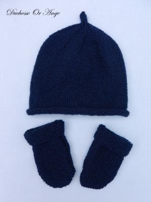 Bonnet et gants bébé bleu marine - naissance