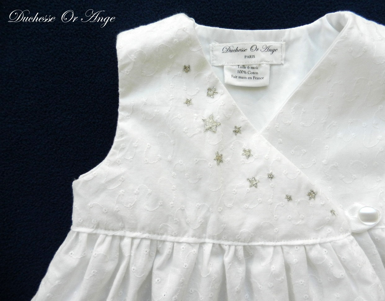 white eyelet wrapover baby dress with silver handmade With robe blanche bebe