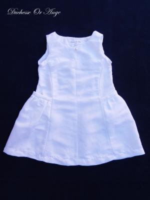 Robe  à poches froncées en lin blanc - 3 ans
