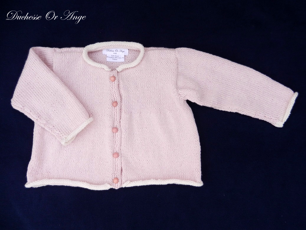 Doa a gilet bebe tricot rose pink baby pink cardigan