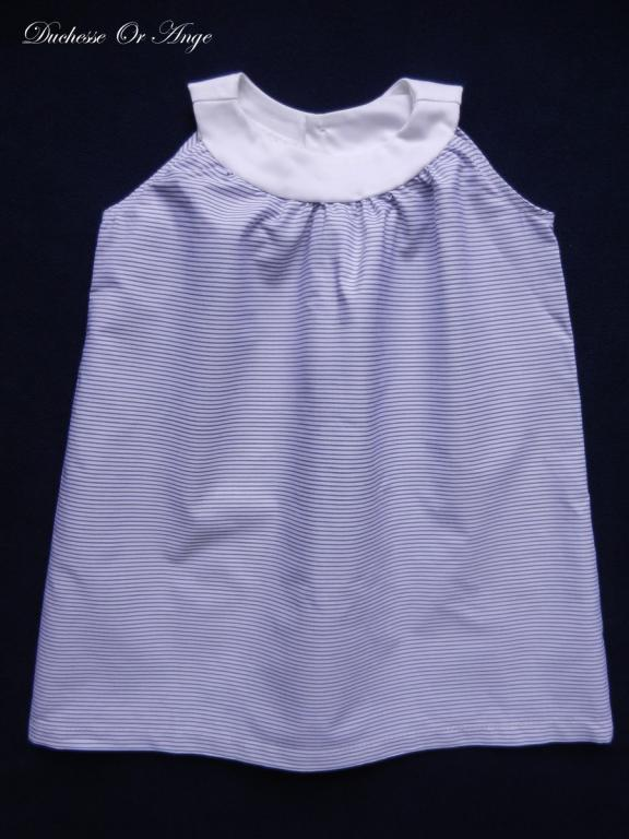 White and blue pinstripe round collar dress - 2 years old