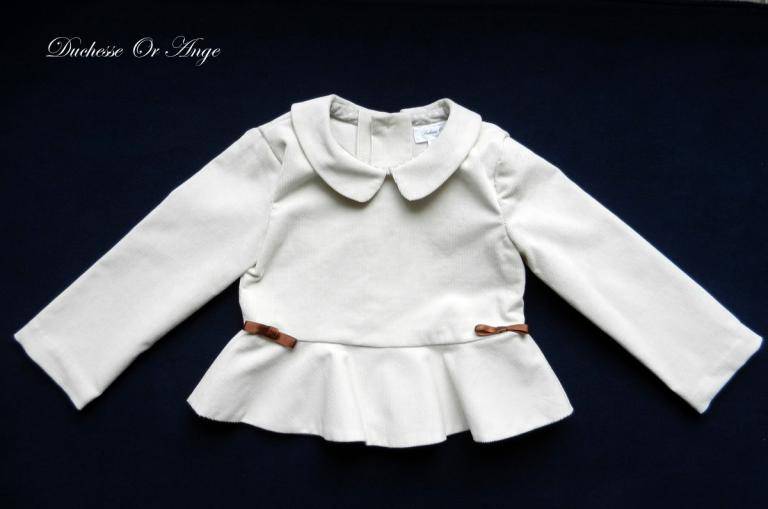 Cream velvet peplum blouse - 4 years old