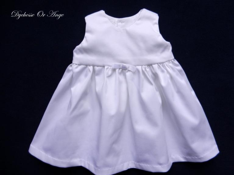 White satin cotton baby dress - 6 months old