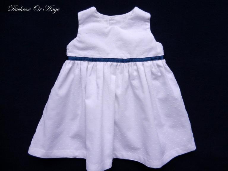 Robe en coton plumetis blanc (g)  - 6 mois