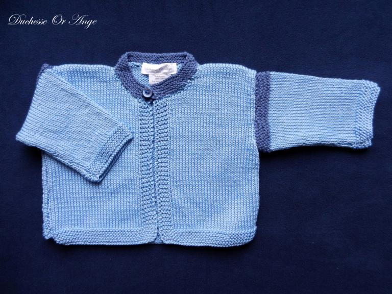Light blue cardigan with darker blue collar - 6 months old