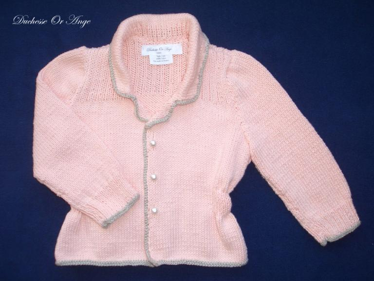 Jacket style salmon pink cardigan - 2 years old