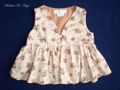 Cream and small red flowers print cotton blouse - 4 years old