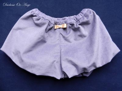 Short ballon en velours milleraies mauve - 4 ans