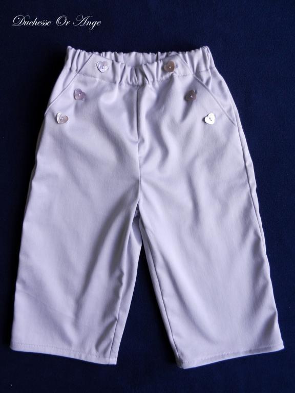 Pantalon en satin de coton parme - 2 ans