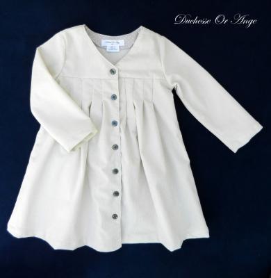 Robe-manteau en velours milleraies crème - 4 ans