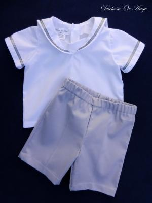 White sailor shirt and bermuda shorts set - 12 months old