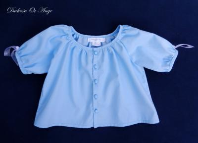 Blue cotton blouse with puff sleeves - 3 years old