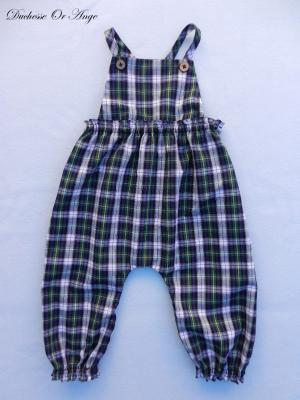 Green, purple white and black checkered overalls - 12 months old