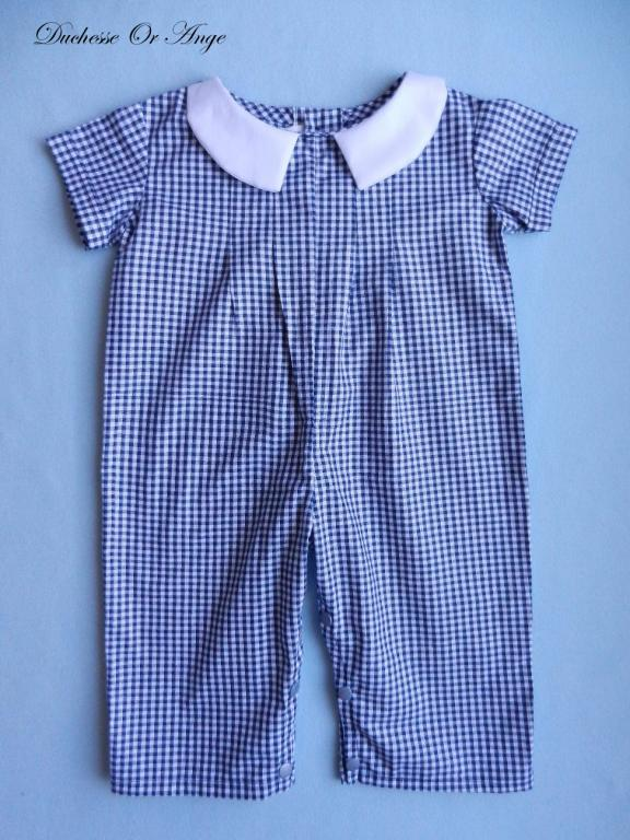 Dark blue and white gingham overalls - 18 months old