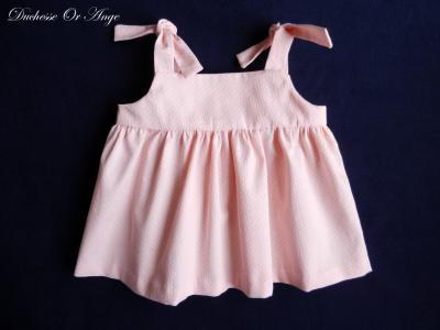 Pink and white polk dots cotton piqué top with straps- 2 years old