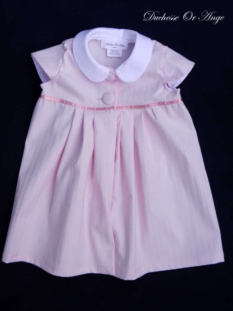 Doa 77 a robe b b rose col claudine peter pan collar pink baby dress