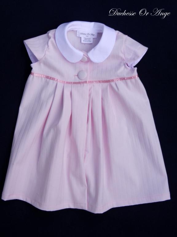 Pink cotton dress, Peter Pan collar - 18 months