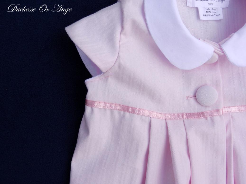 Doa 77 b robe b b rose col claudine peter pan collar pink baby dress