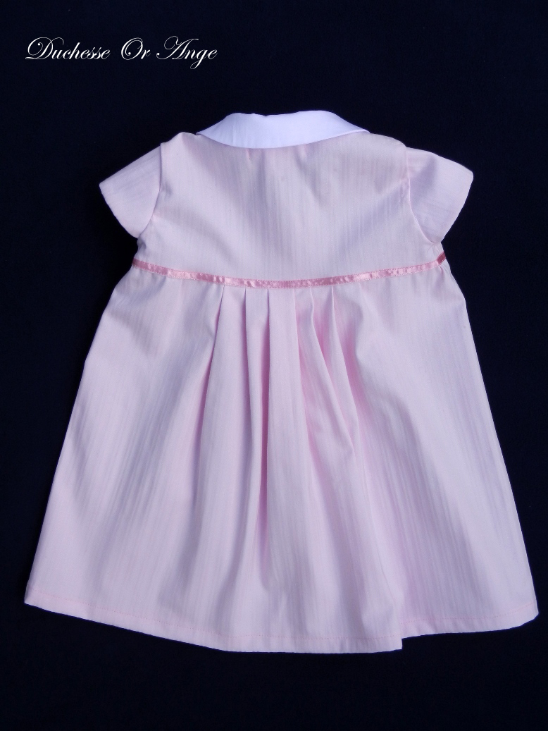 Doa 77 c robe b b rose col claudine peter pan collar pink baby dress