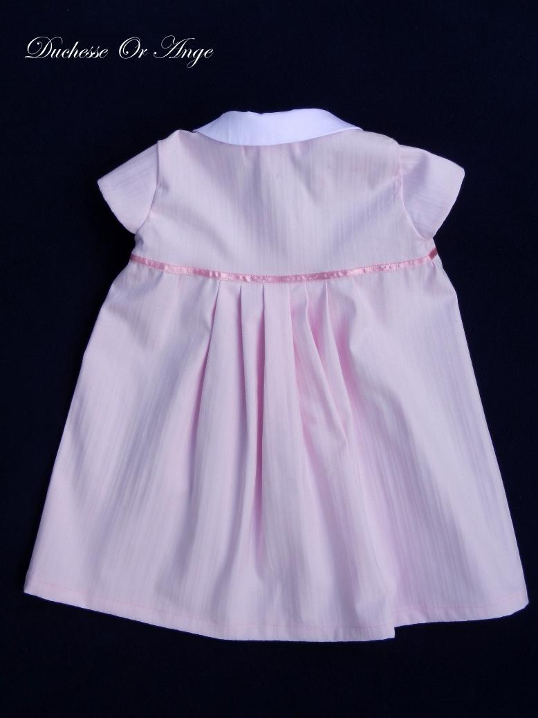 Doa 77 c robe b b rose col claudine peter pan collar pink baby dress