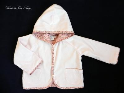 Hooded light pink cotton baby jacket - 18 months old
