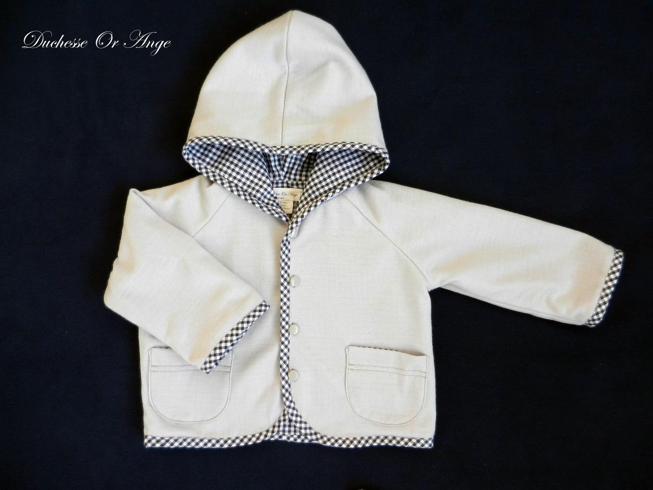 Doa 79 veste b b grise grey baby jacket a