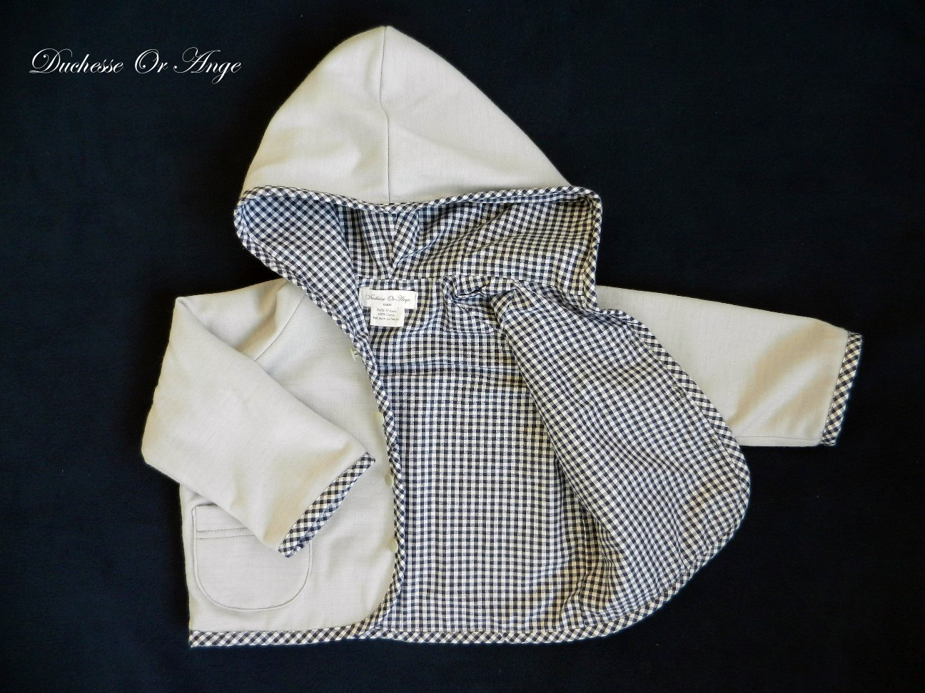 Doa 79 veste b b grise grey baby jacket d