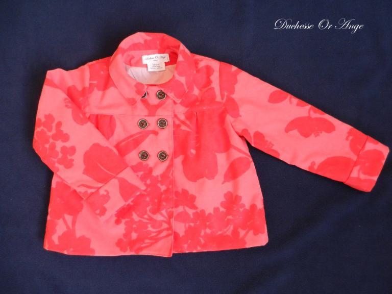 Veste fille en coton rose et rouge doublée - 4 ans