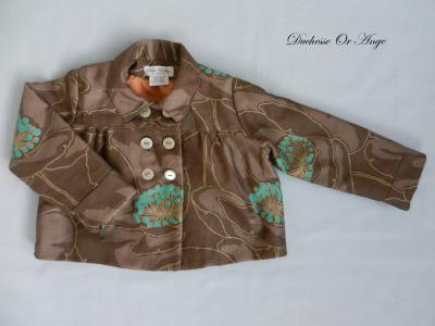 Girl brown, turquoise and gold lined jacket - 3 years old