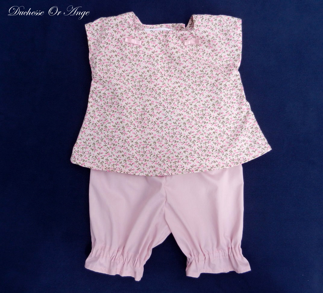 Doa 82 a ensemble b b rose pink baby top and short set