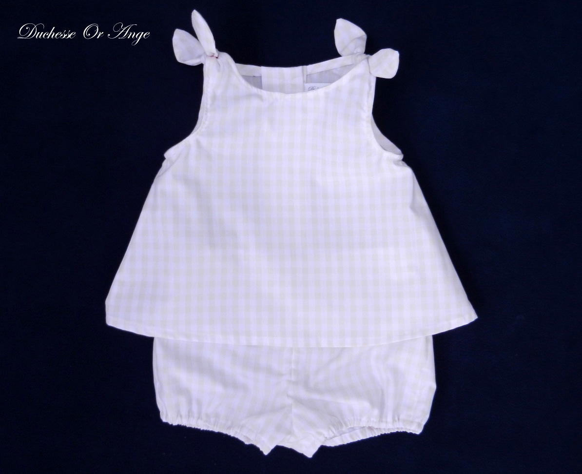 Doa 83 a ensemble b b vichy gingham baby top and short set