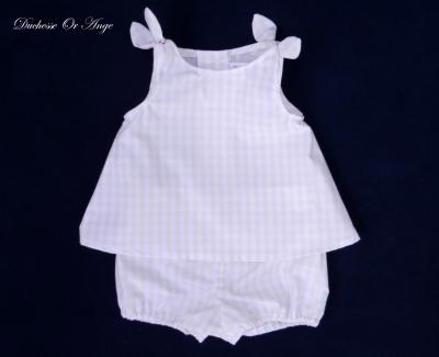 Light pink gingham baby top and bloomers set - 12 months old