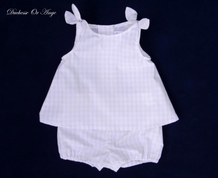 Ensemble bébé blouse et culotte vichy rose pale - 12 mois
