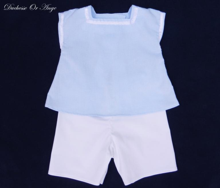 Ensemble bébé blouse et short bleu et blanc (g) - 12 mois